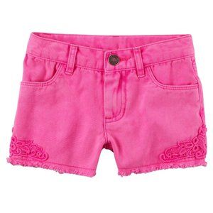 Carter's Pink Adjustable Waist Lace Twill Shorts